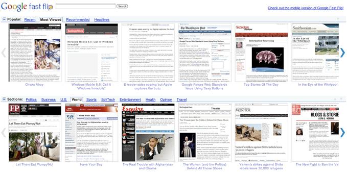 Google Fast Flip pozwala przeglądać okładki gazet z całego świata