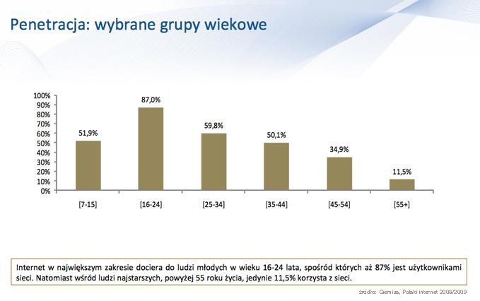 Polski internet 2008-2009, źródło: Gemius